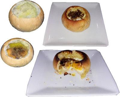 Huevos en cazuelita de pan