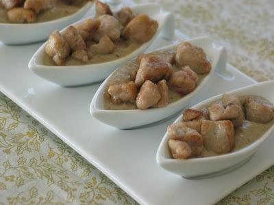 Fricassée de ris de veau sur crème de champignons