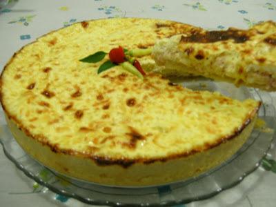 Quiche de queijo com presunto