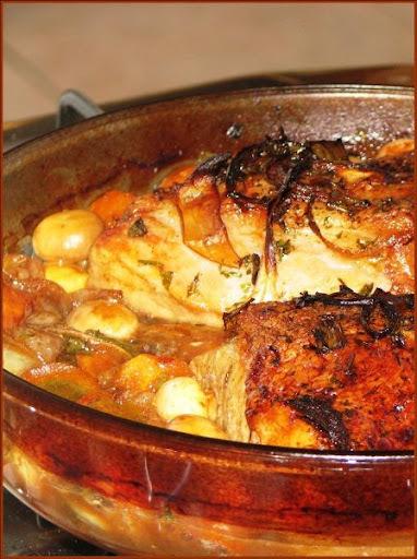 A carne que acompanhou as batatas de ontem.