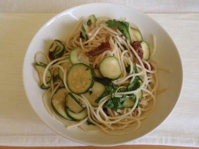 Cuketovo-citrónové špagety so sušenými paradajkami a píniovými orieškami