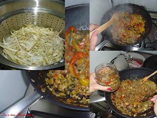 de beringela frita com pimentões