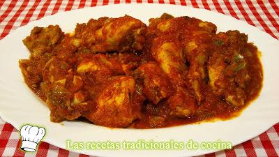 Receta de Pollo con salsa de Tomate y Pimiento