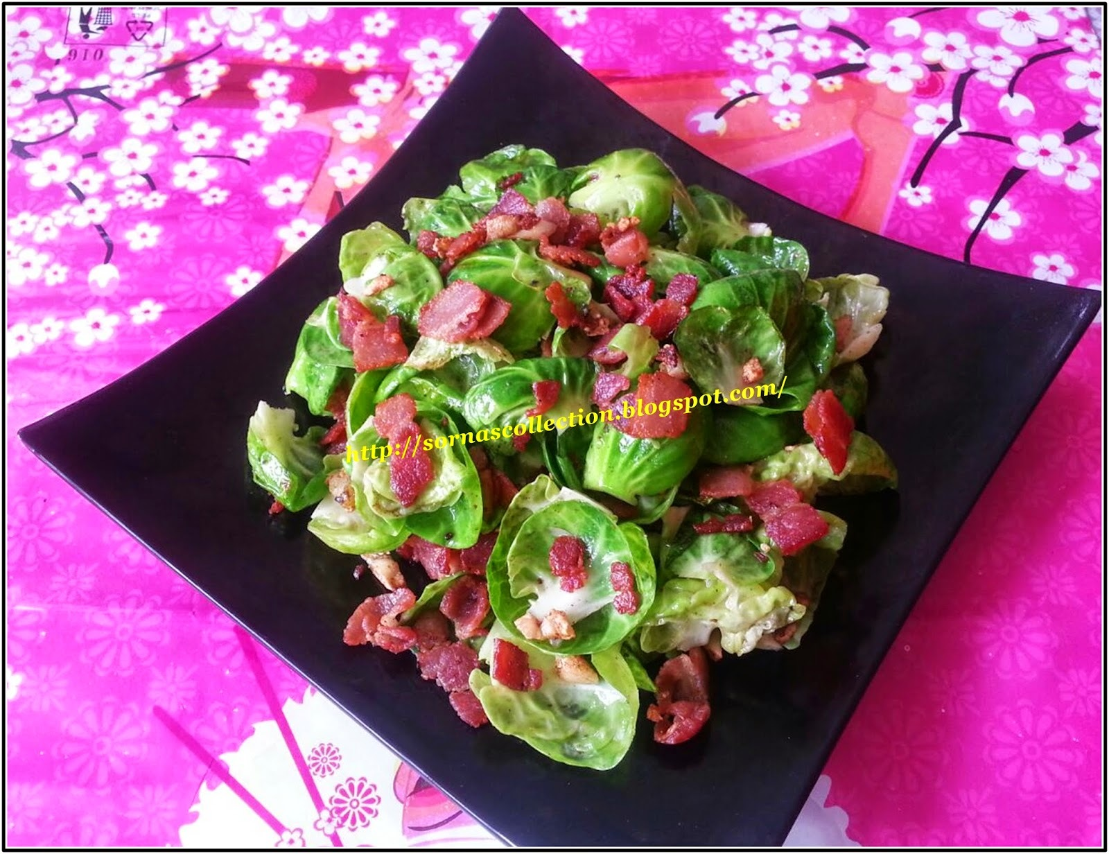STIR-FRIED BRUSSELS WITH VEGETARIAN BACON