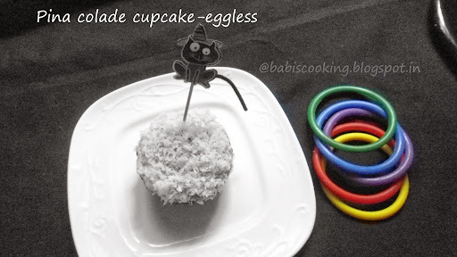 Pina-colade cupcake-eggless |  For Eggless Baking Group