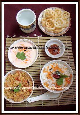 Ajwain Tomato Rice, Raita & Carrot Curd Rice