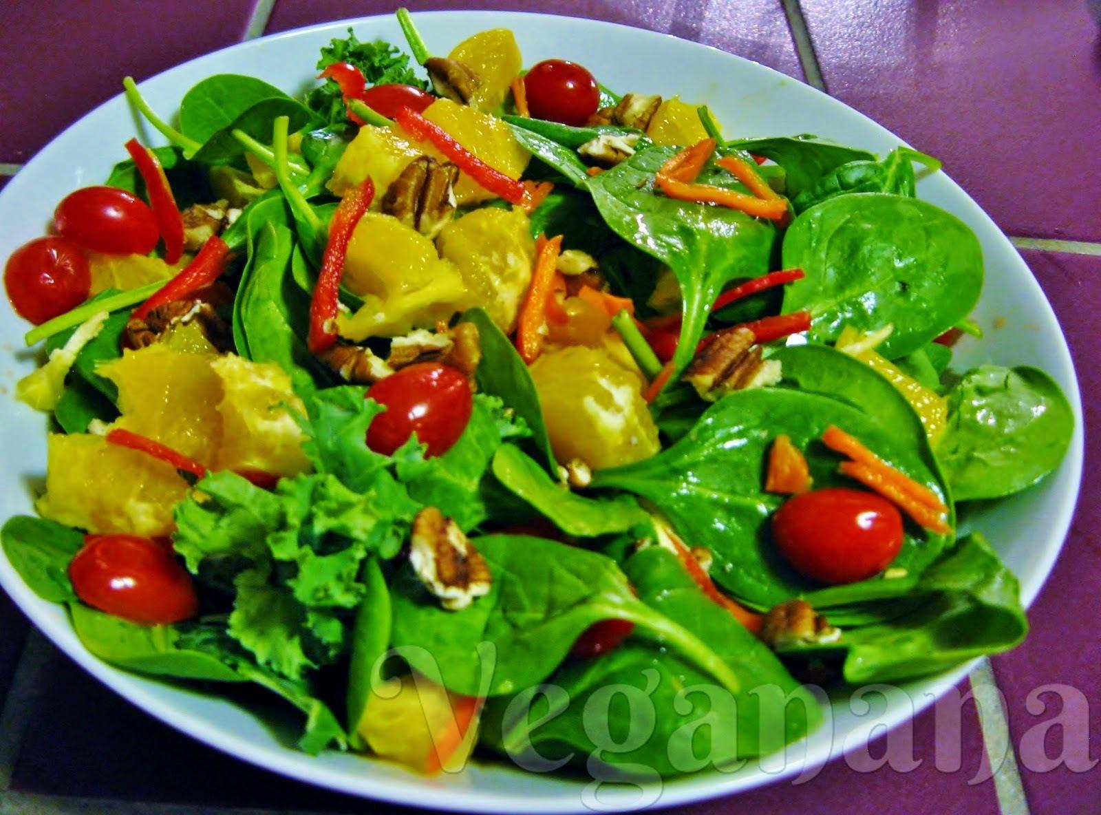 Salada de Espinafre com Laranja e Nozes
