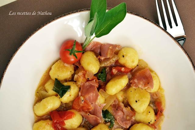 Gnocchis de pomme de terre au jambon de Parme et à la sauge