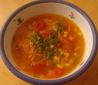Corn and Tomato Soup - Nice use of Fresh Summer Produce- And Some Unexpected Kudos for our Countdown Supermarket