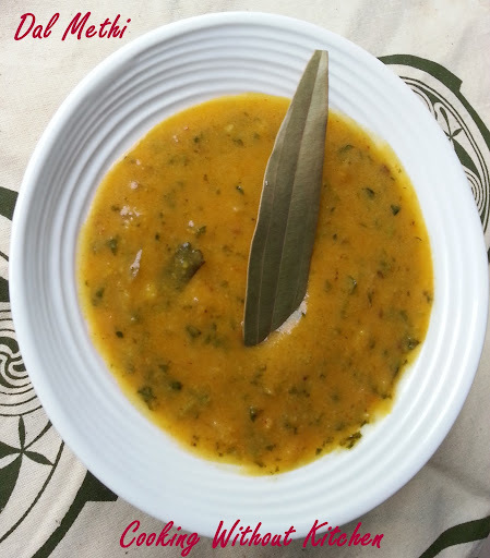 indian of green leafy vegetables with dal