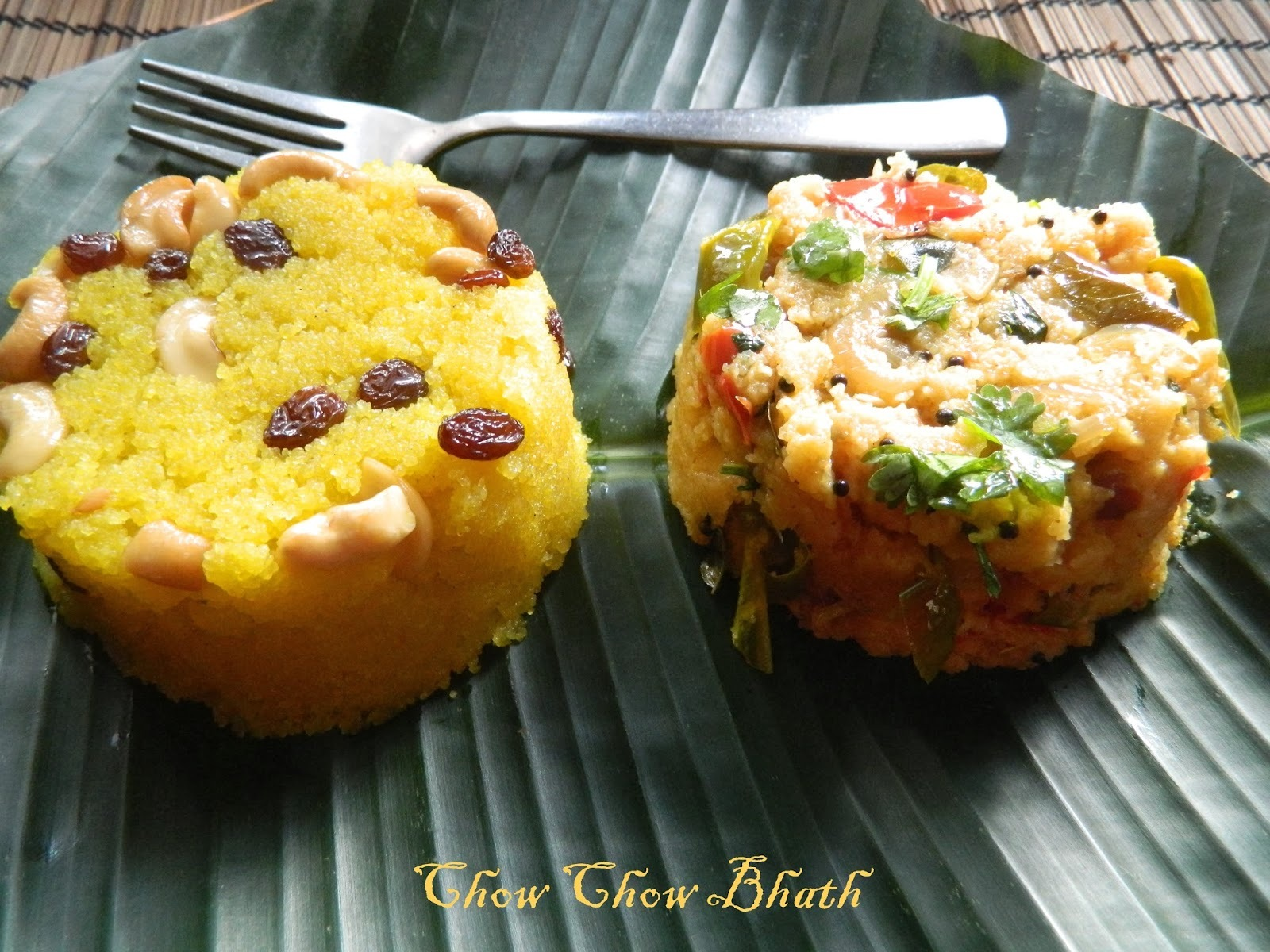 Chow Chow Baath,combination of Kesari Bhath/Sheera and Kharabhath