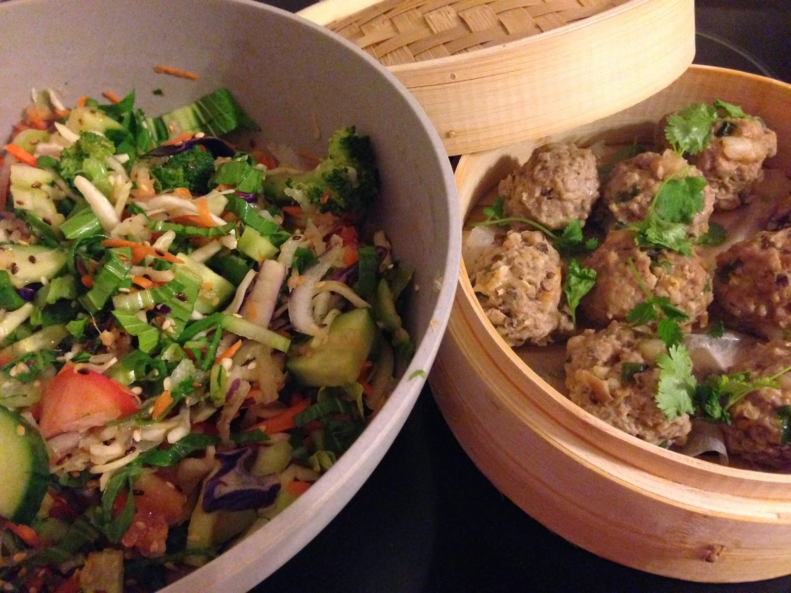 Pork and Prawn Siu Mai Meatballs with Asian Slaw