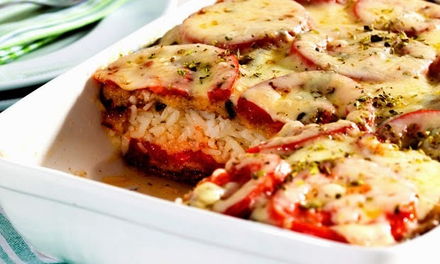 Gratinado de arroz com berinjela (light)
