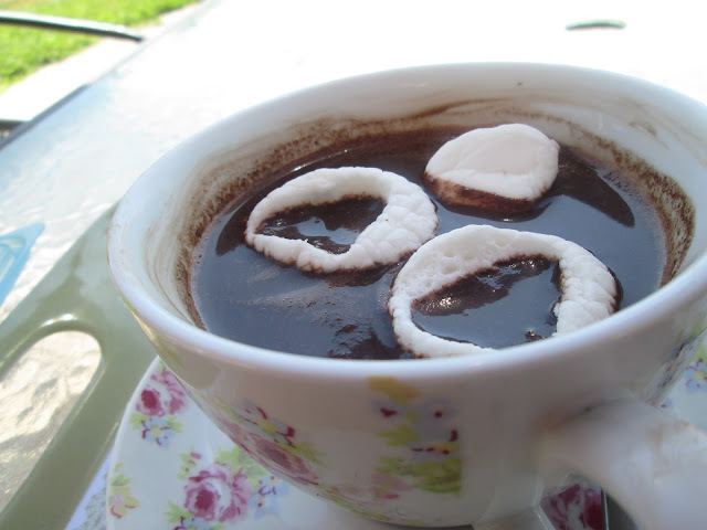 Hot chocolate with marshmallows hearts and Happy Valentine to all of you!