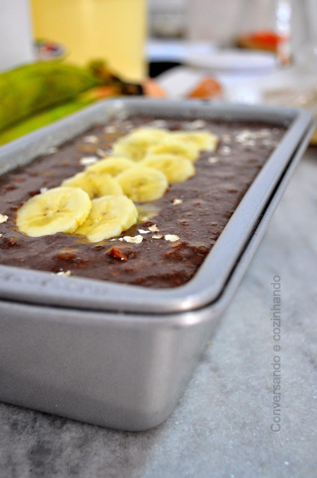 Cake de bananas, aveia e mix de castanhas