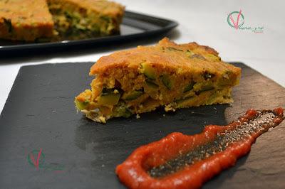 Pan de calabacín, ajos tiernos y setas
