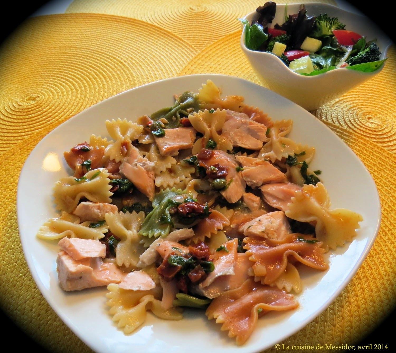 Pâtes au saumon frais, sauce méditerranéenne