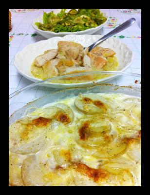 Frango com mostarda e Dauphinoise rápida - Jamie Oliver!!!