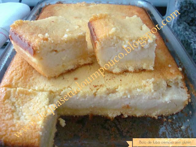 de bolo de fuba cremoso com coco e queijo sem gluten