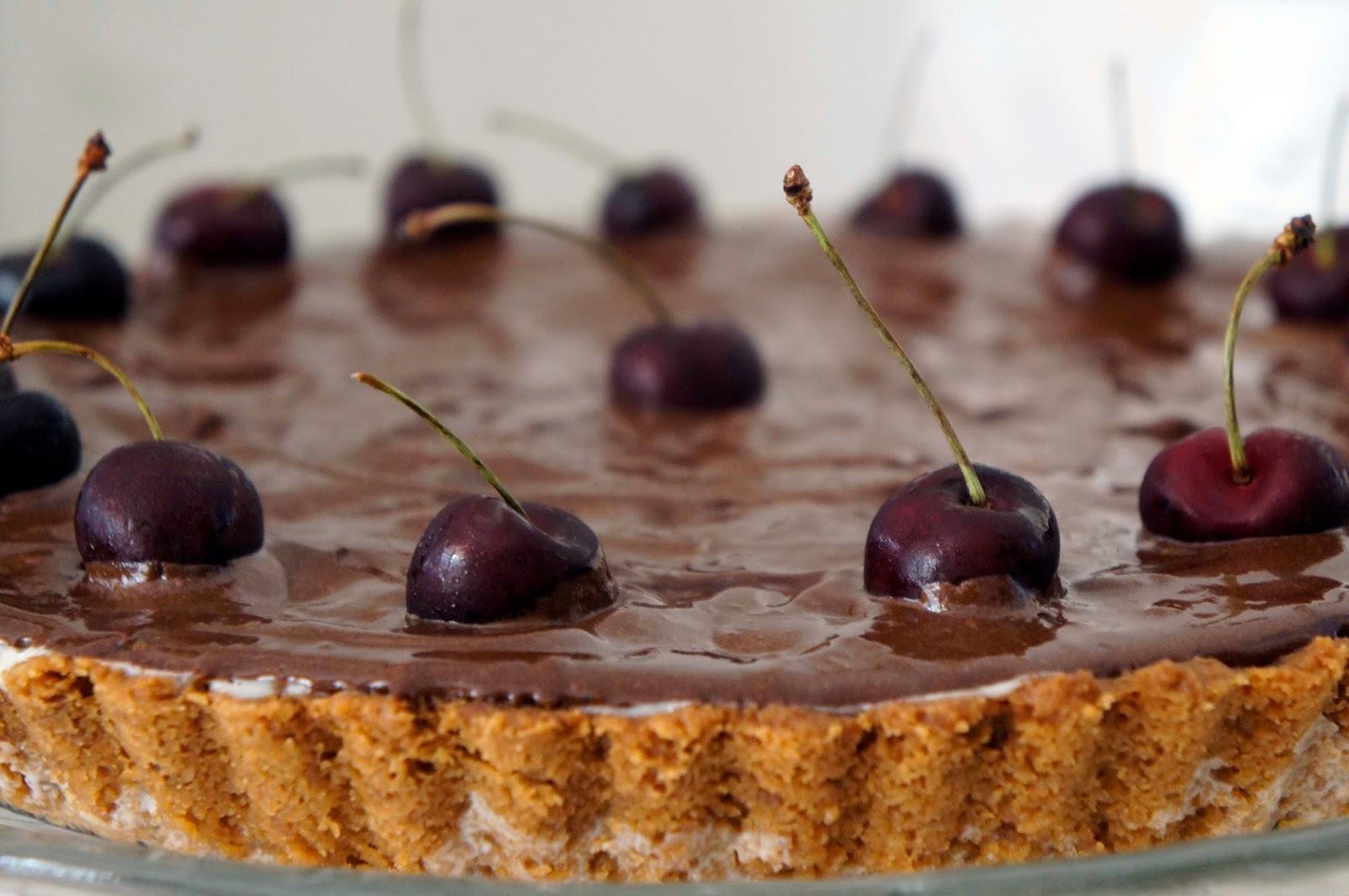 Torta de cerejas frescas (ou outras frutas vermelhas), leite ninho e chocolate meio amargo