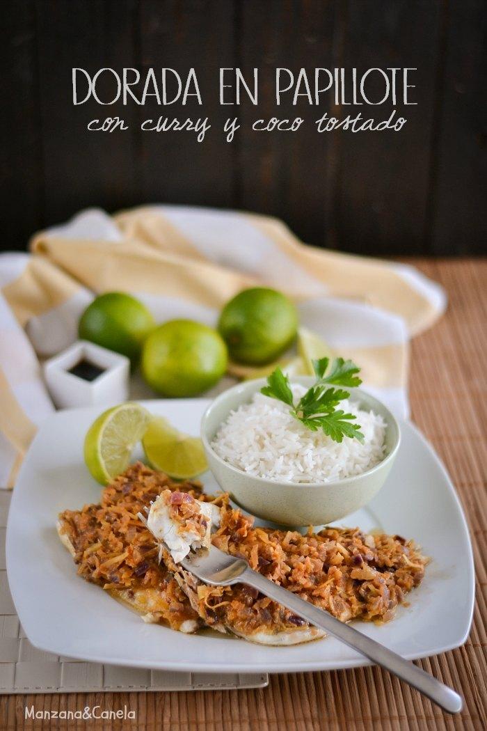Dorada en papillote con curry y coco tostado