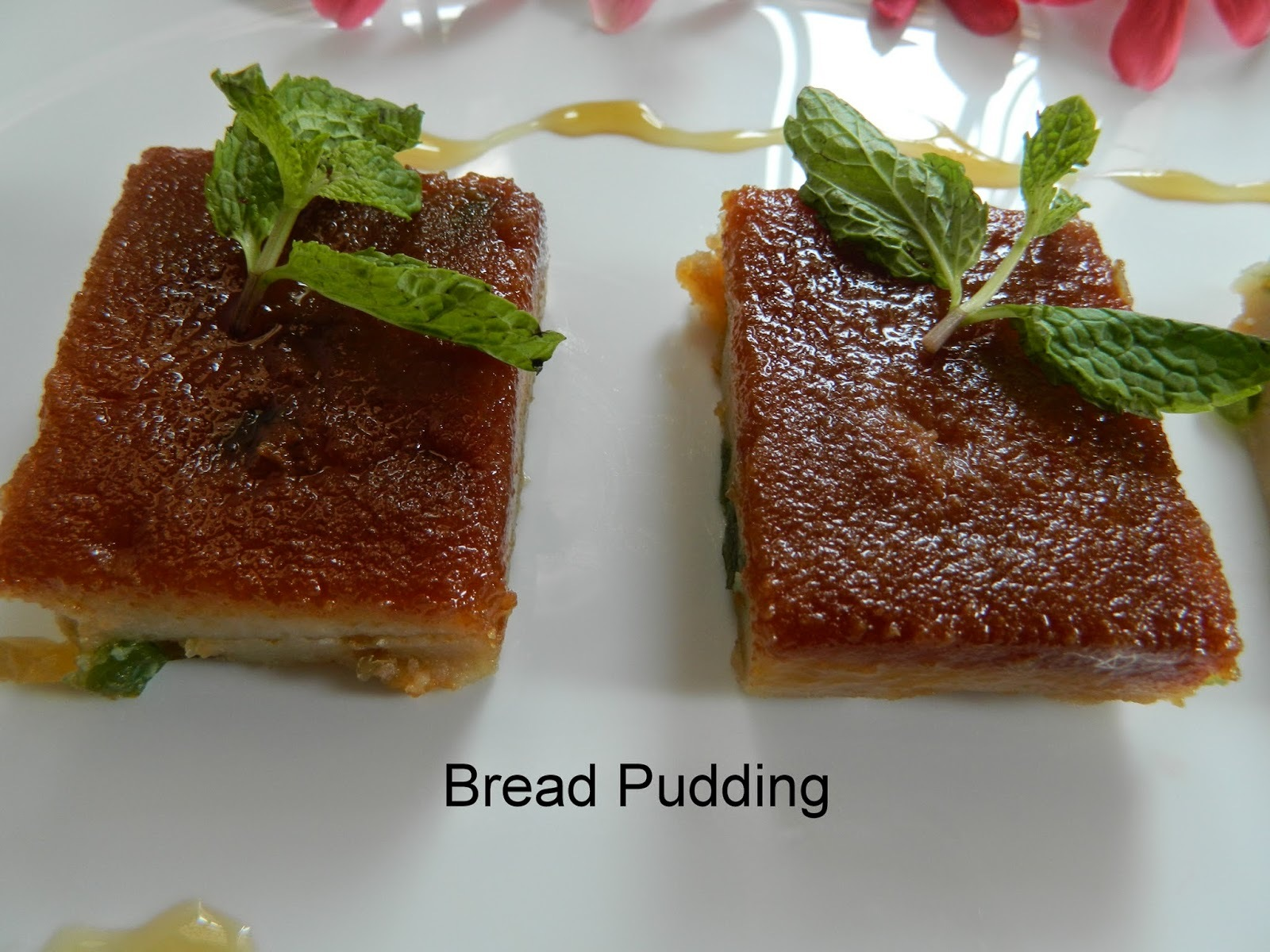 Eggless Caramel Bread pudding