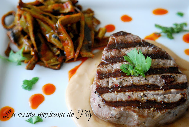 filete de res salsa de miel con chipotle
