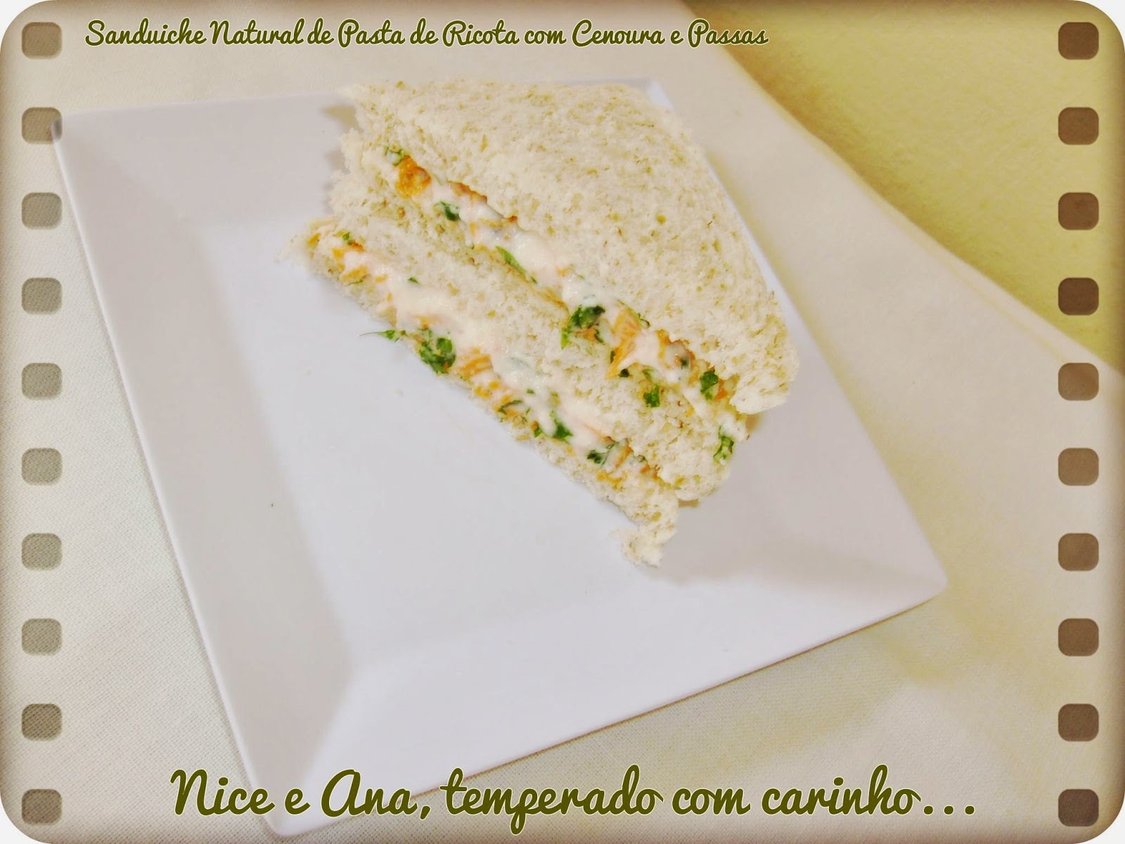 Sanduíche Natural de Pasta de Ricota com Cenoura e Passas