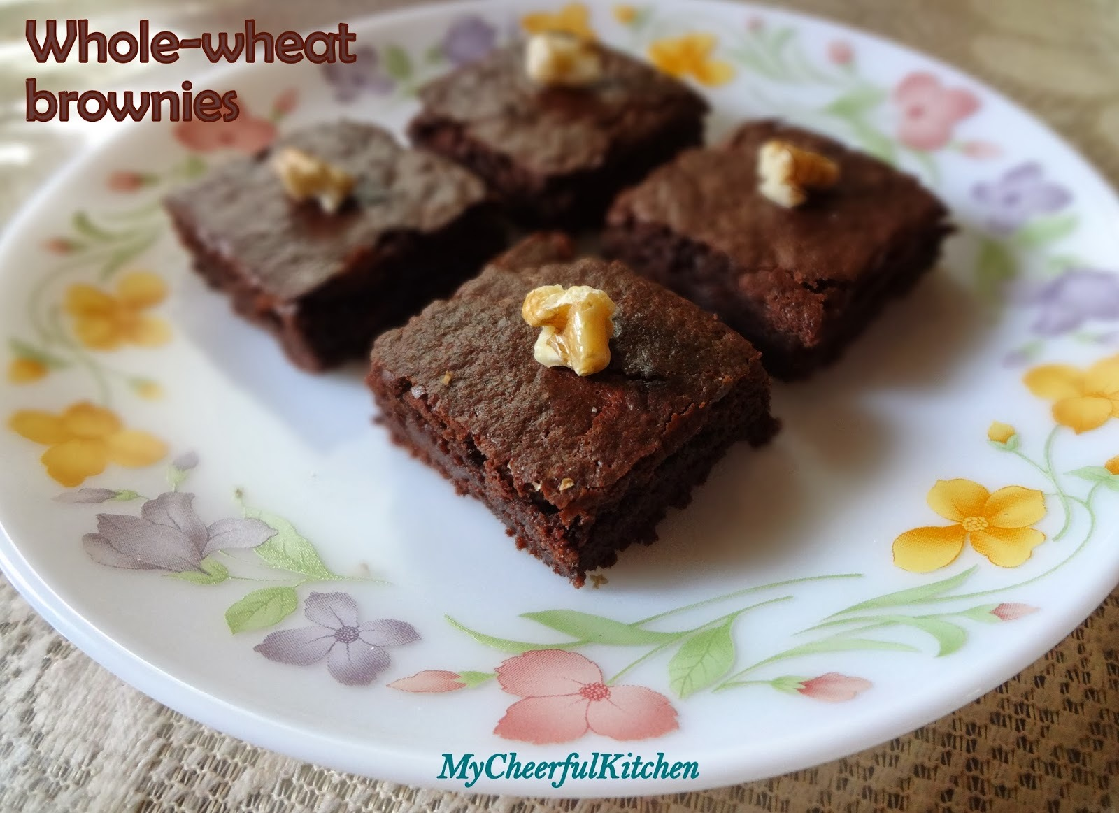 Whole-wheat brownies (No egg, No Butter)