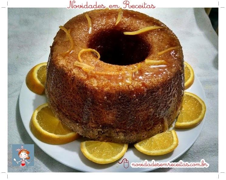 BOLO DE LARANJA  ( feito com a Fruta ) COM CALDA