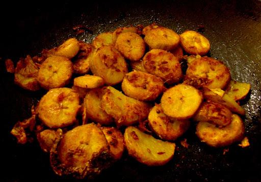 Raw bananna sukhi Bhaji ( Kancha kadali Bhaja)