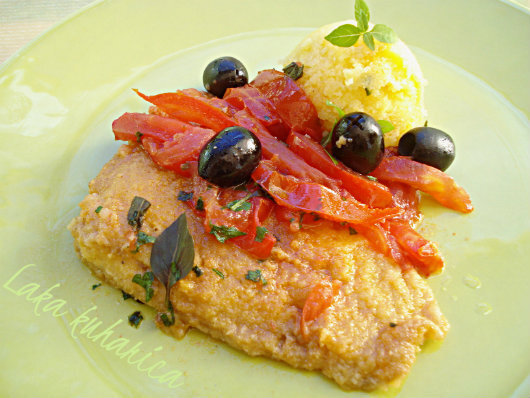 Bakalar s rajčicom, maslinama i palentom :: Cod with tomatoes, olives and polenta