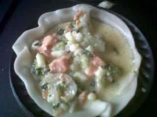 Quiche de salmón y brócoli.
