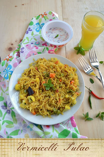 Semiya Pulao/Vermicelli Pulao ~ Vegan Thursday