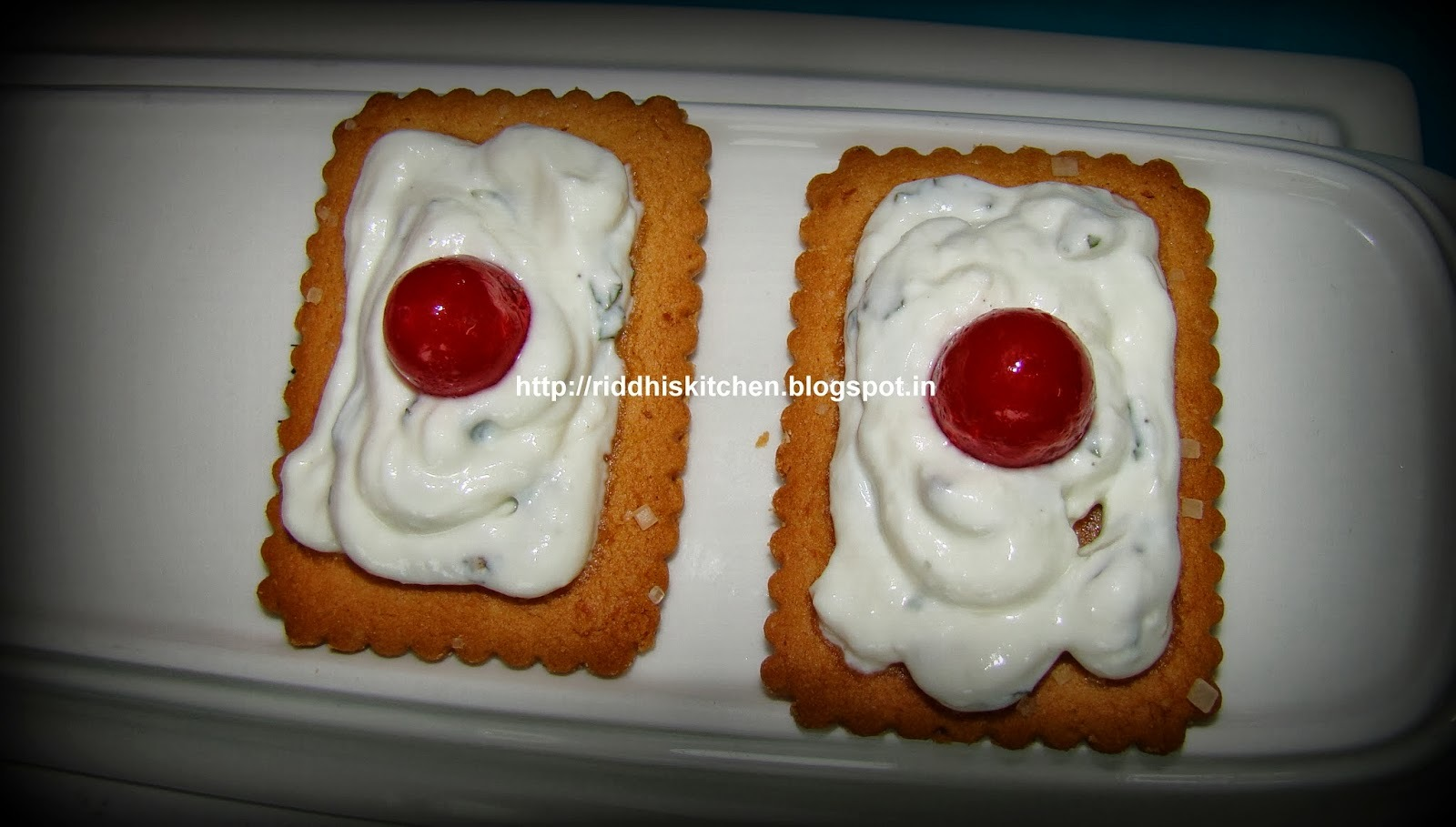 Cherries on Coconut Crackers ( very easy and quick recipe and  yummy too )