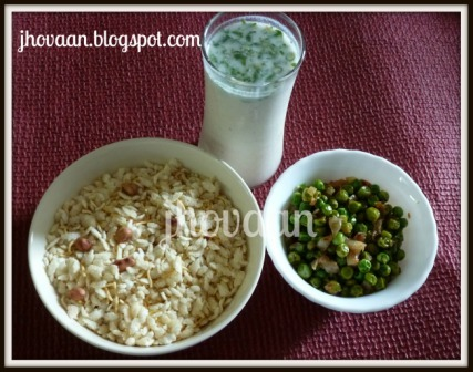 Recipe : Bihari Mattar Ghoogni Chiwda - Peas and Puffed Rice Flakes - Vegan