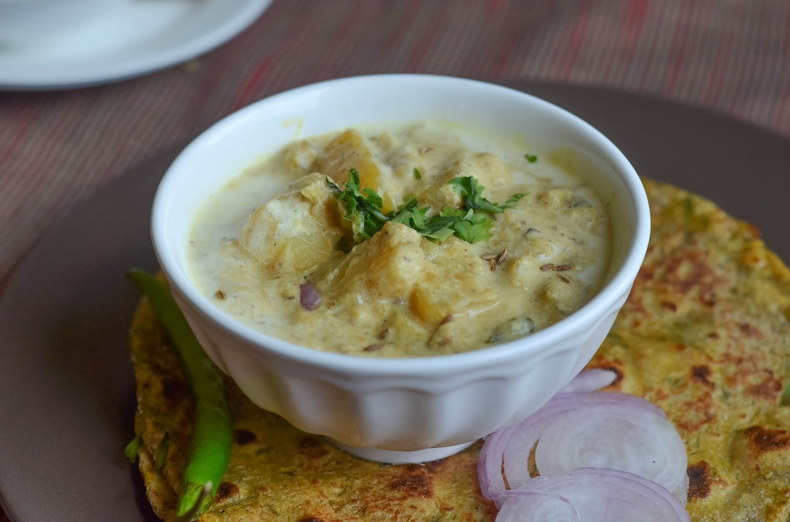 Pahari Aloo palda/Potatoes in yogurt gravy from Himachal Pradesh