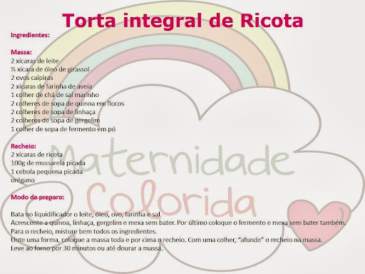 Torta Integral de Ricota {Culinária pra Criança}