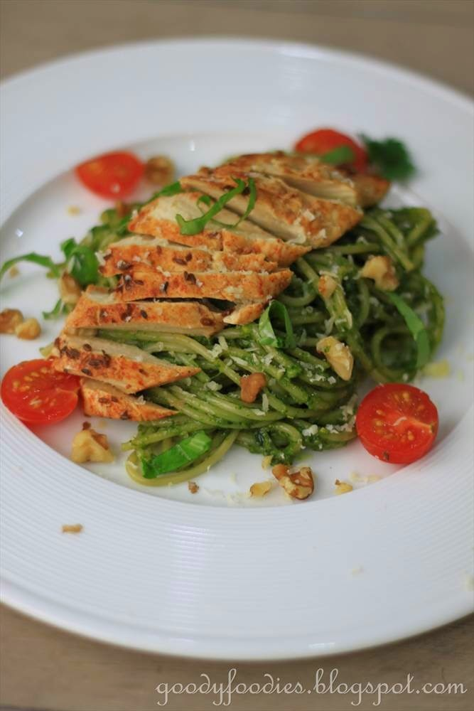Recipe: Pesto Pasta with Oven-Roasted Chicken