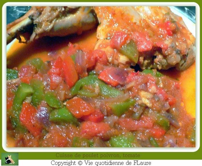 Cuisses de poulet poivrons, tomates