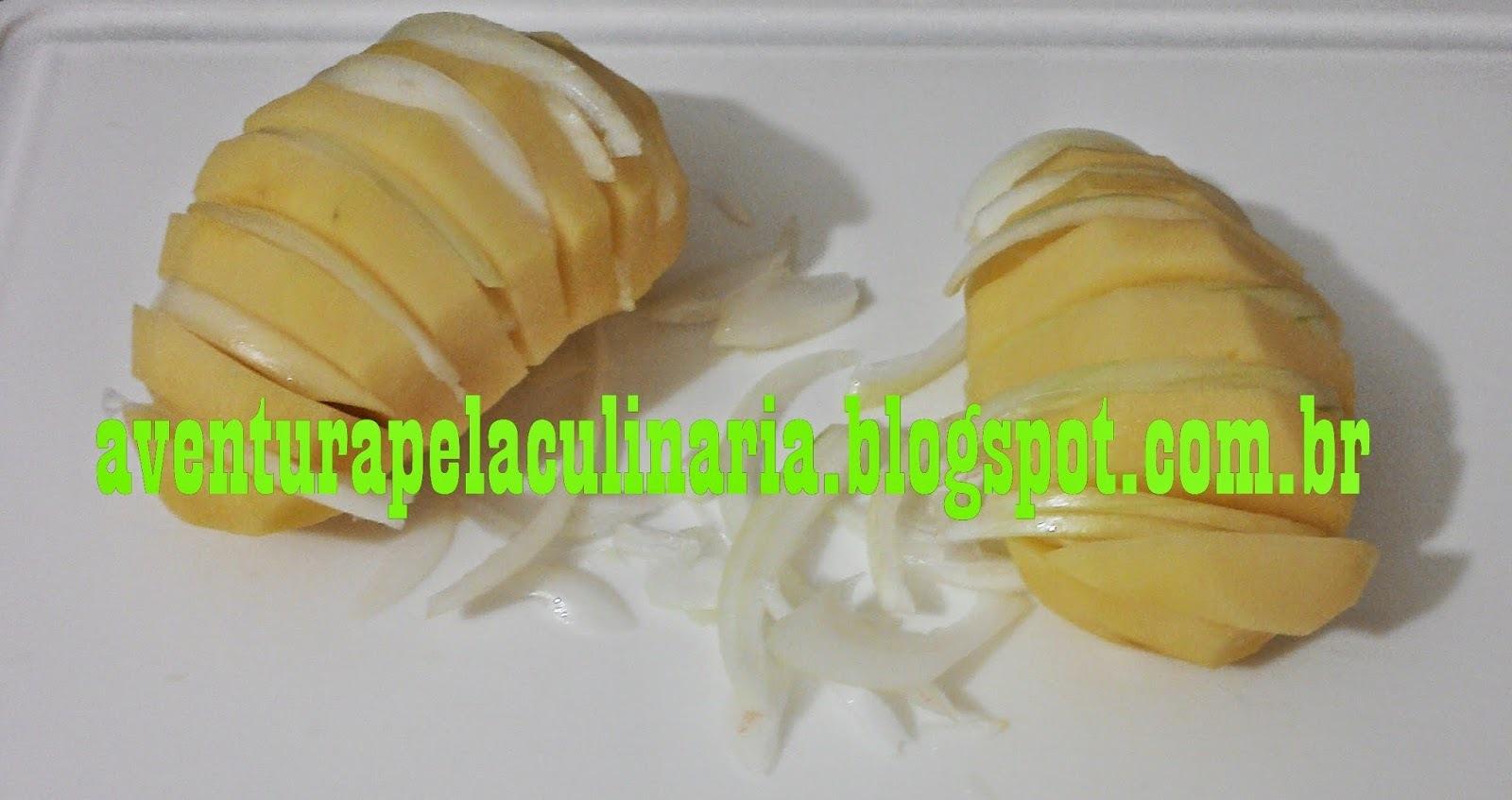 Lombo suíno assado com batatas laminadas (tipo hasselback)