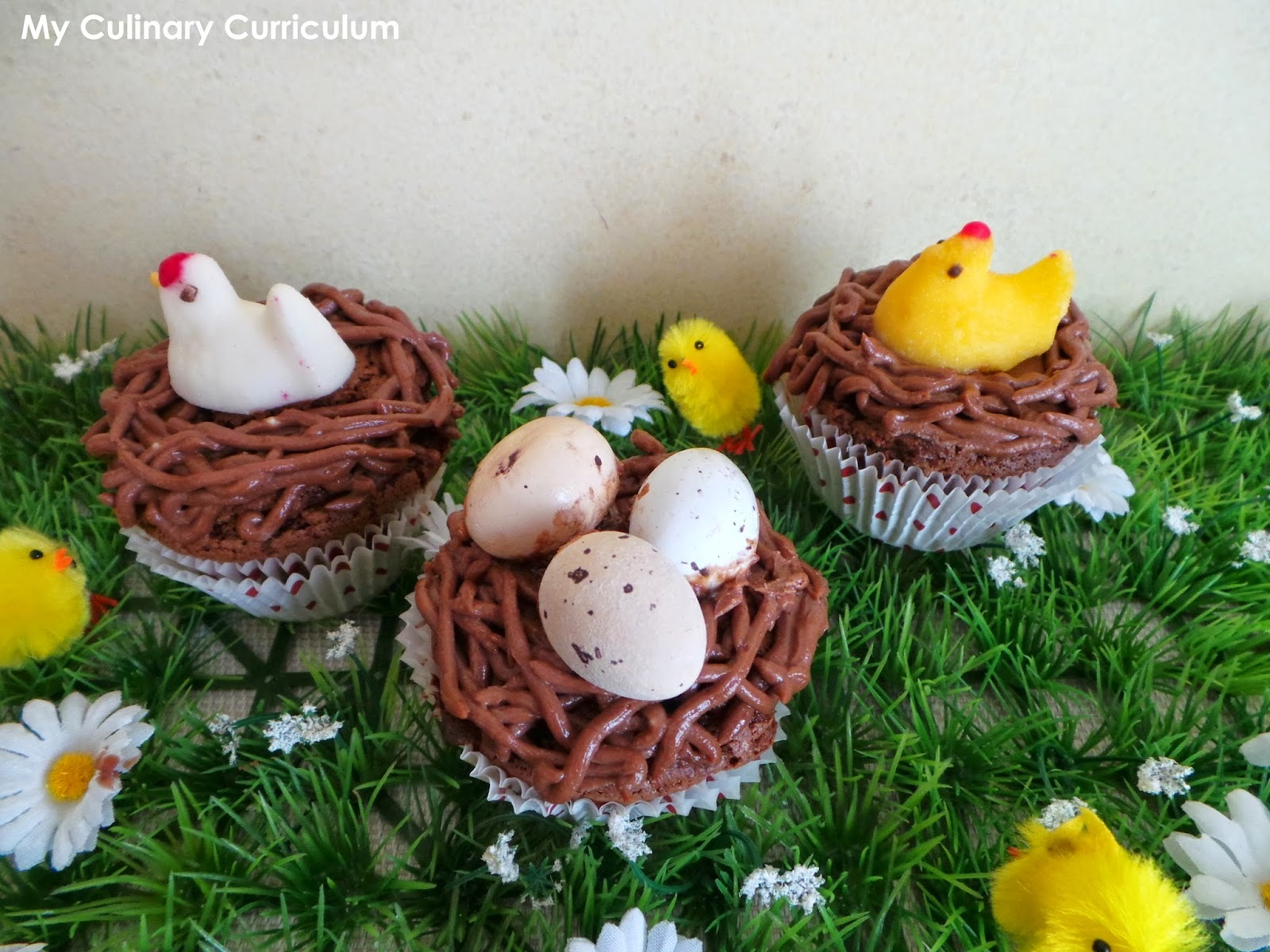 Cupcakes nids de Pâques au chocolat (recette facile)  (Chocolate Easter cupcakes )