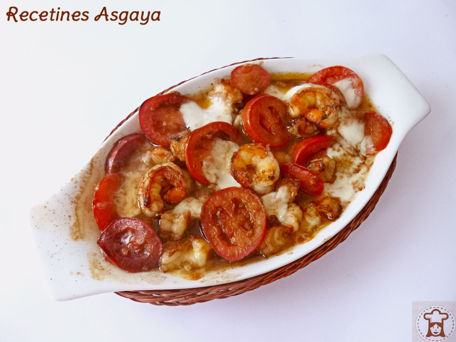 Ensalada Tibia de Mozzarella, Tomate y Gambones