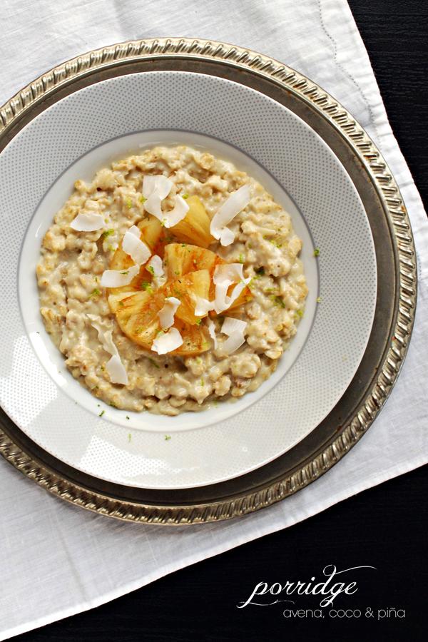 porridge de avena, coco y piña {con jarabe de yacón} #superalimentos