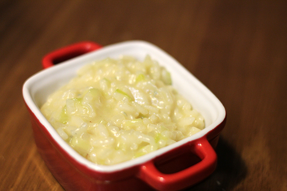 Risoto de alho poró com gorgonzola