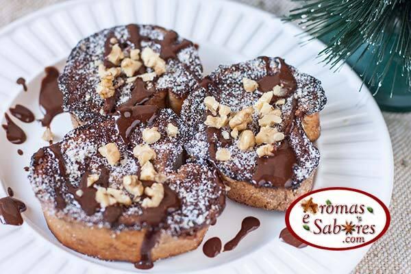 Receita de rabanada de chocolate com nozes e ganache