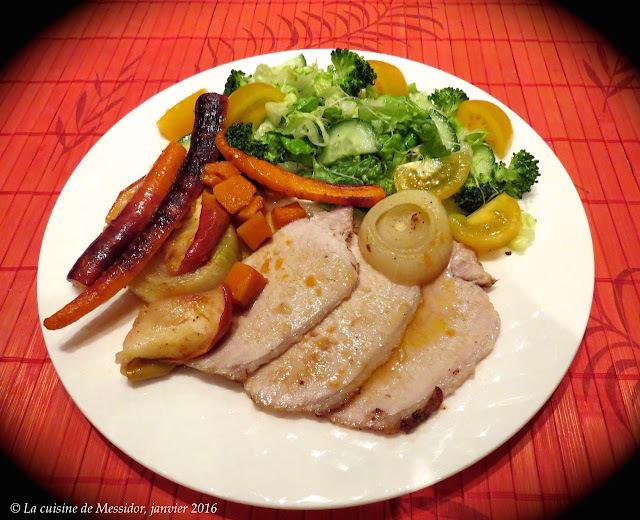 Rôti de porc au four, pommes, légumes, érable