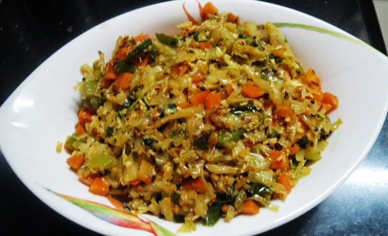 Cabbage, Carrot & Capsicum Palya