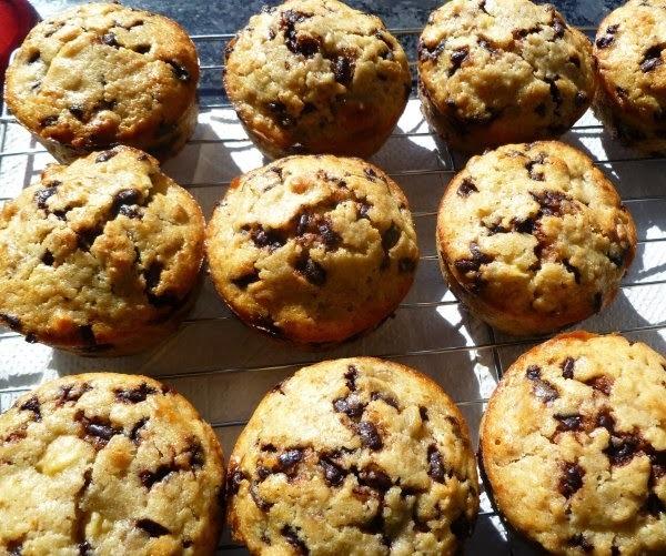 Banana chocolate walnut muffins