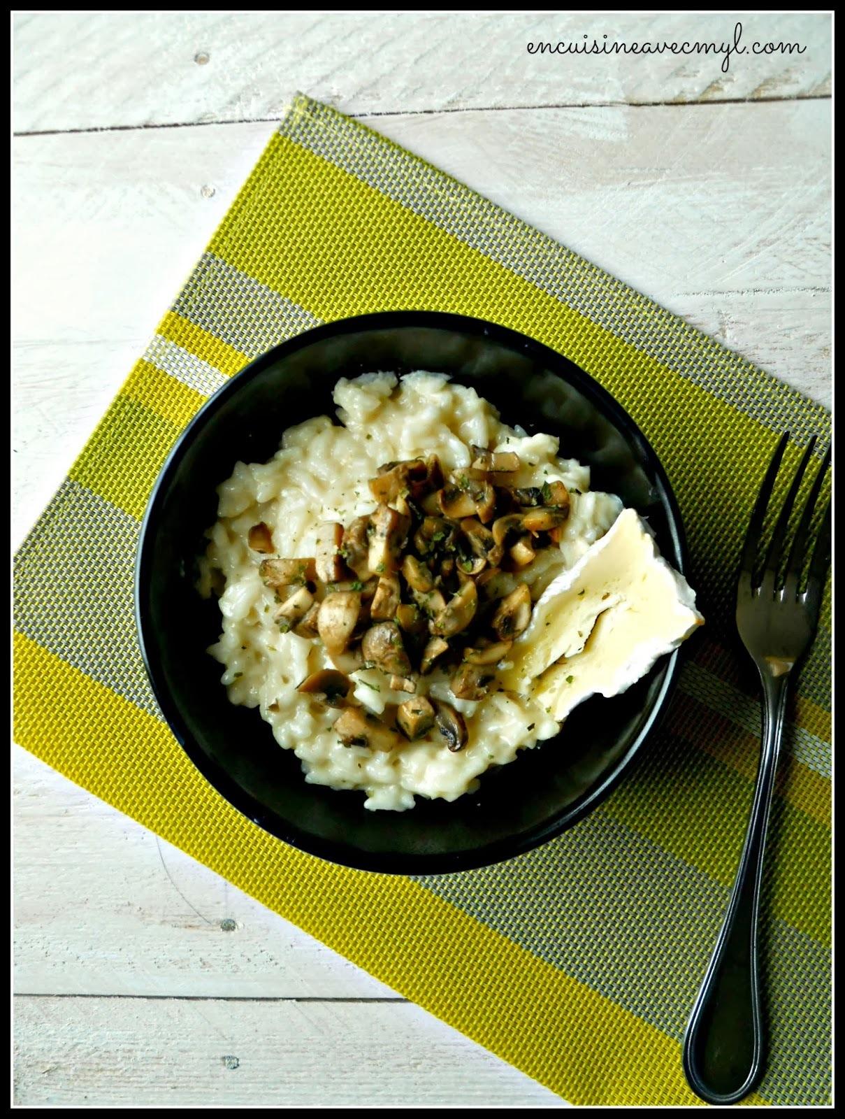 Risotto au camembert et champignons